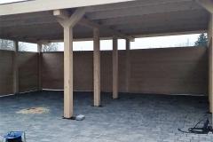 Doppelcarport aus Holz mit Flachdach