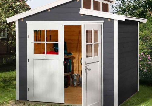 Gartenhaus aus Holz mit einem versetzten Satteldach